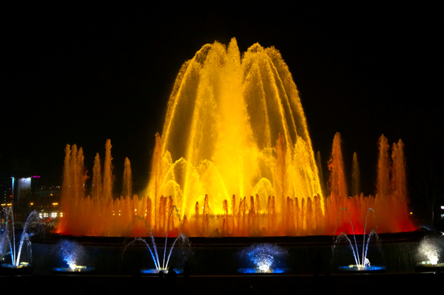 Magic Fountain on a Barcelona sunset walk.