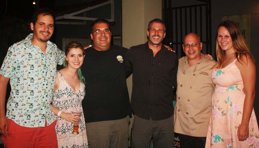 Casa Saltshaker Pops-up – and Rides to Shore – in Playa Jacó (From left: Jose Sanchez Pacheo, Viví Daz, Jon Hochstat, Danny Clark, Chef Dan Perlman and Lauren Salisbury)