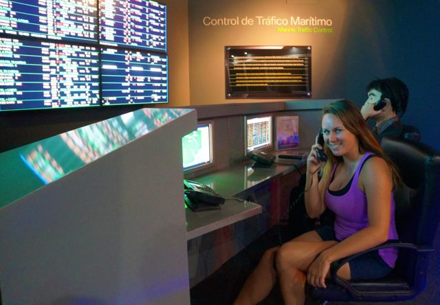 Lauren at Maritime Control at the Panama Canal. Learn more with 10 fascinating facts about the Panama Canal.