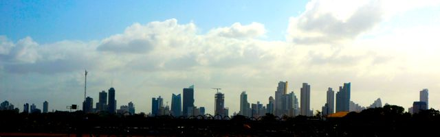 Panama City Skyline. Learn more with 10 fascinating facts about the Panama Canal.