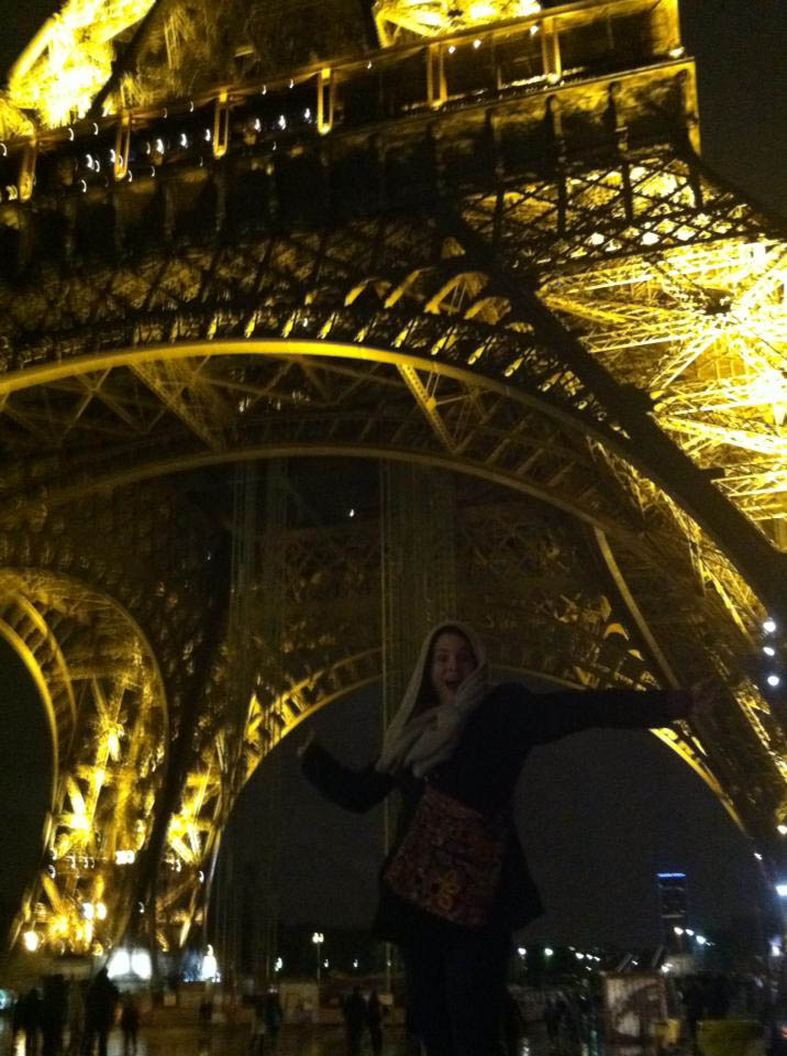 Michelle Philippon visits the Eiffel Tower.