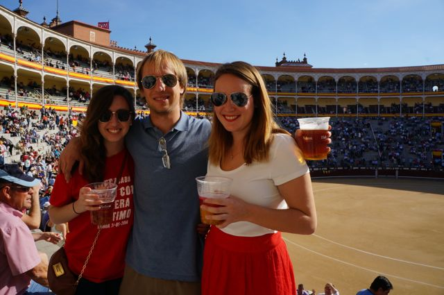 friends at a bull fight