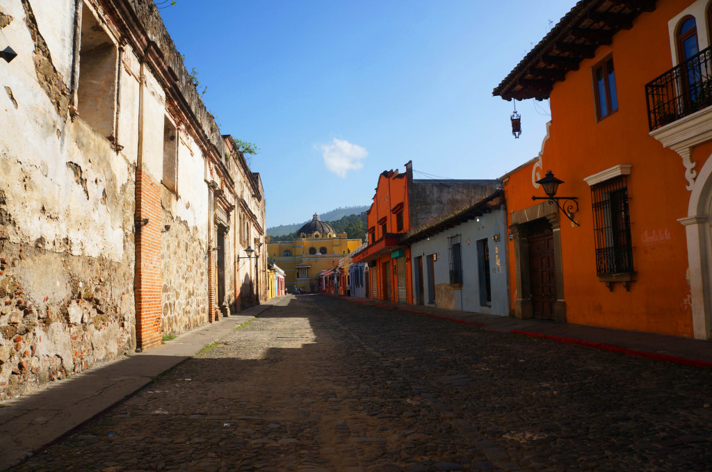 yellow church from afar photos of antigua guatemala