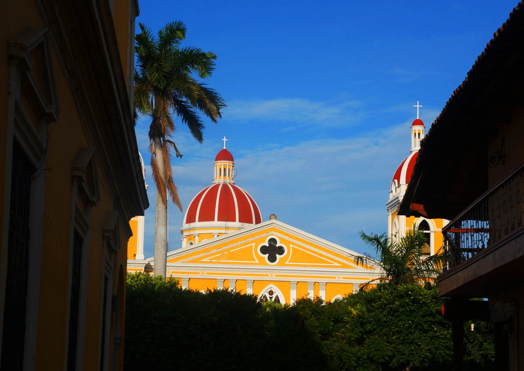 Granada Nicaragua in photos cathedral from across park