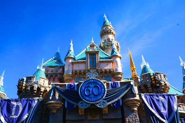 celebrating disneyland 60 anniversary castle upclose