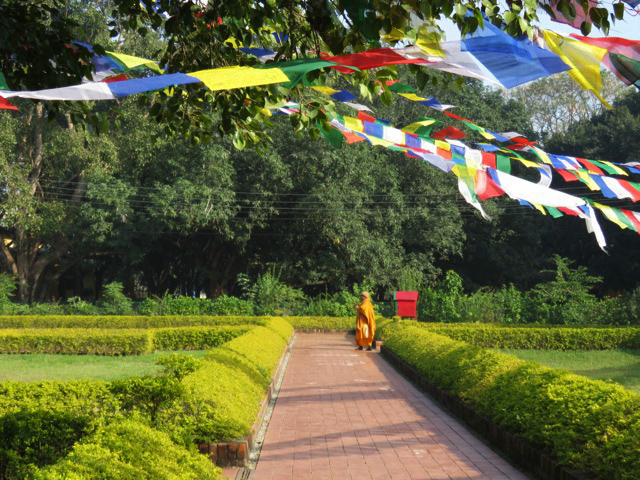 solo travel in Nepal Monk Walking in Park Lumbini Nepal