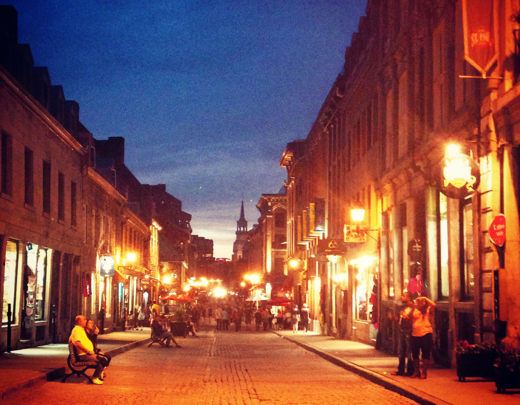 family trip to montreal- streets at night