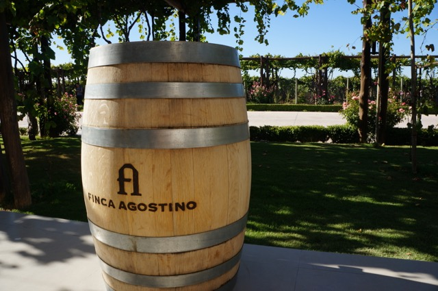 finca agostino wine barrel